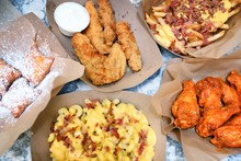 Photo of various fried menu items.